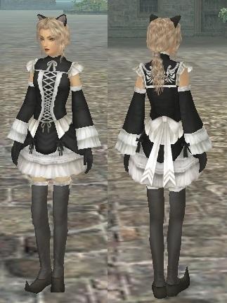 2016.6.176月の衣装はこれだ〜!!(笑)黒縁猫耳と黒×白レースフリルドレス